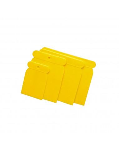 Juego 4 Espátulas Plástico Amarillo Rulo Pluma